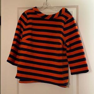 Boden orange/navy stripe top, 16